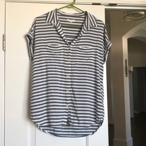 Beachlunchlounge striped button short sleeve shirt